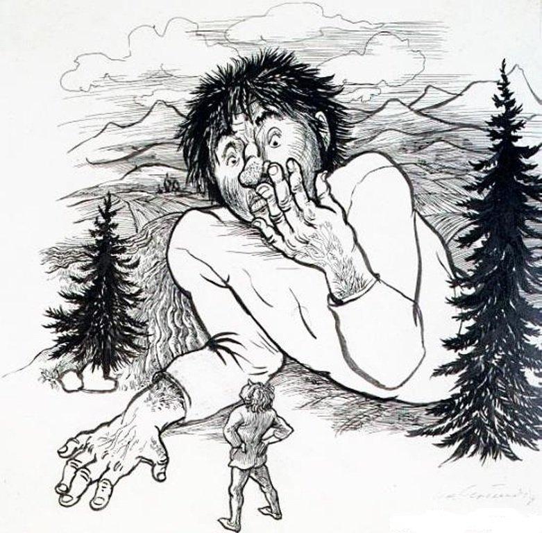 ИЛЛЮСТРАЦИЯ К СКАЗКЕ БРАТЬЕВ ГРИММ «ЮНЫЙ ВЕЛИКАН». ГРУНДИГ ЛЕА, 1960-Е ГГ..
