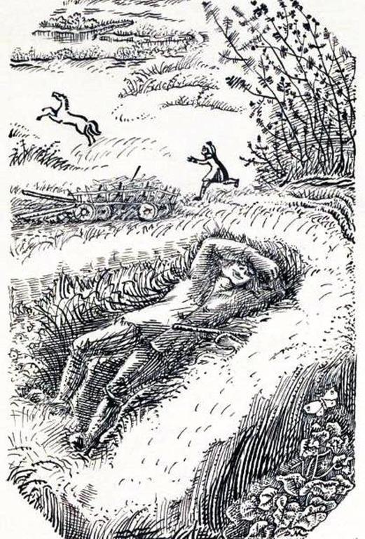 ИЛЛЮСТРАЦИЯ К СКАЗКЕ БРАТЬЕВ ГРИММ «ДВЕНАДЦАТЬ ЛЕНИВЫХ РАБОТНИКОВ». Д. И. МИТРОХИН, 1952 Г..