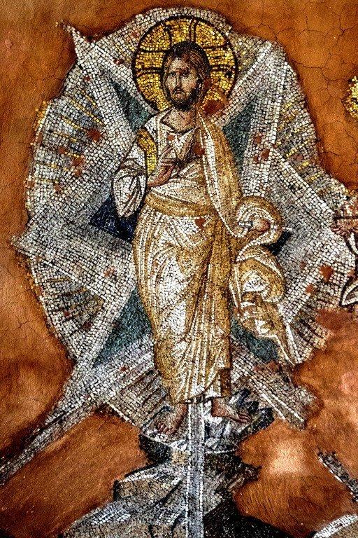 Преображение Господне. Мозаика церкви Святых Апостолов (Двенадцати Апостолов) в Салониках, Греция. XIV век. Фрагмент.
