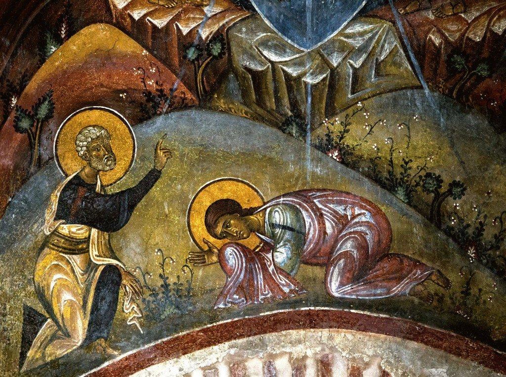 Преображение Господне. Фреска церкви Святого Стефана в Кастории, Греция. Конец XII - начало XIII веков. Фрагмент.