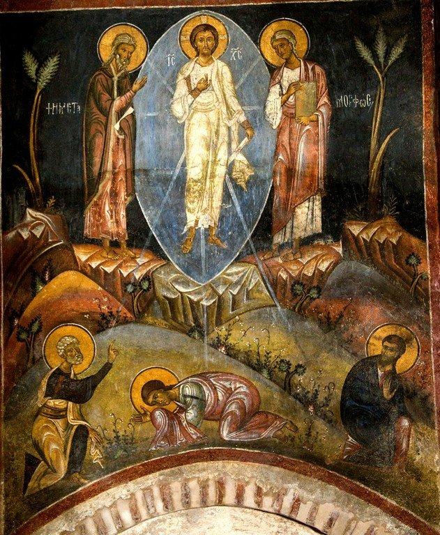 Преображение Господне. Фреска церкви Святого Стефана в Кастории, Греция. Конец XII - начало XIII веков.