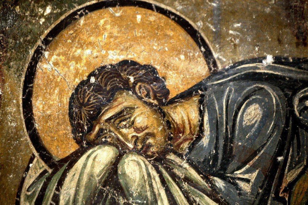 Преображение Господне. Фреска церкви Святого Николая Каснициса в Кастории, Греция. Конец XII века. Фрагмент.