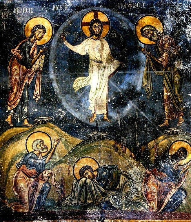 Преображение Господне. Фреска церкви Святого Николая Каснициса в Кастории, Греция. Конец XII века.