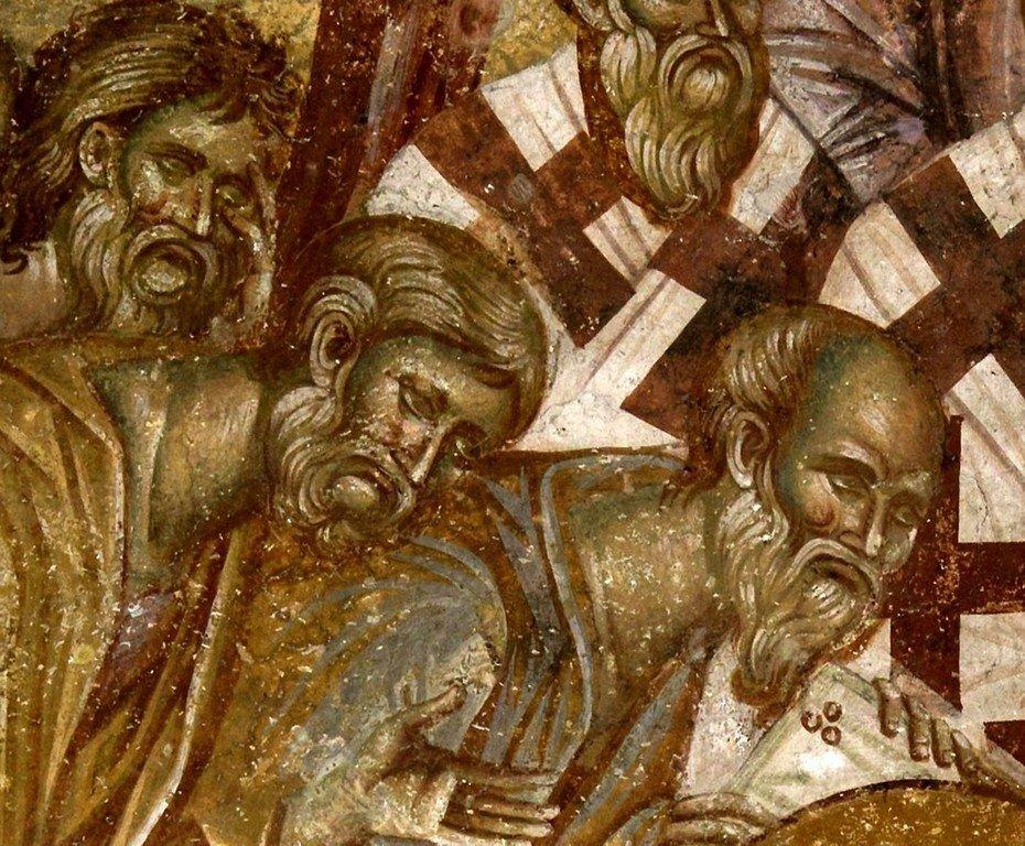 """Успение Пресвятой Богородицы. Фреска церкви Вознесения Господня (""""Спасов дом"""") в монастыре Жича, Сербия. 1309 - 1316 годы. Фрагмент."""