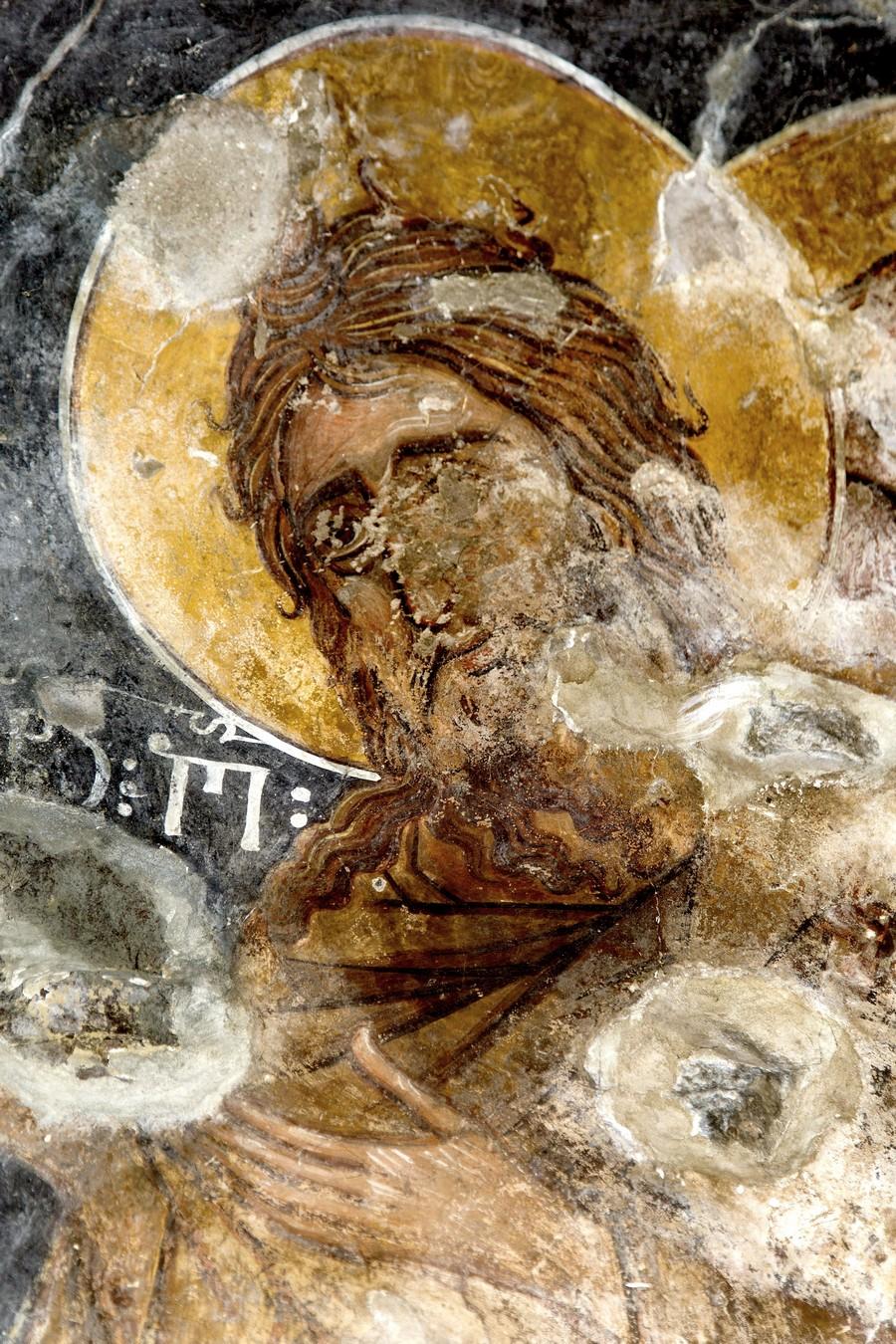 Святой Пророк, Предтеча и Креститель Господень Иоанн. ФрескаНузальской церкви (Северная Осетия). Конец XIII - начало XIV века.