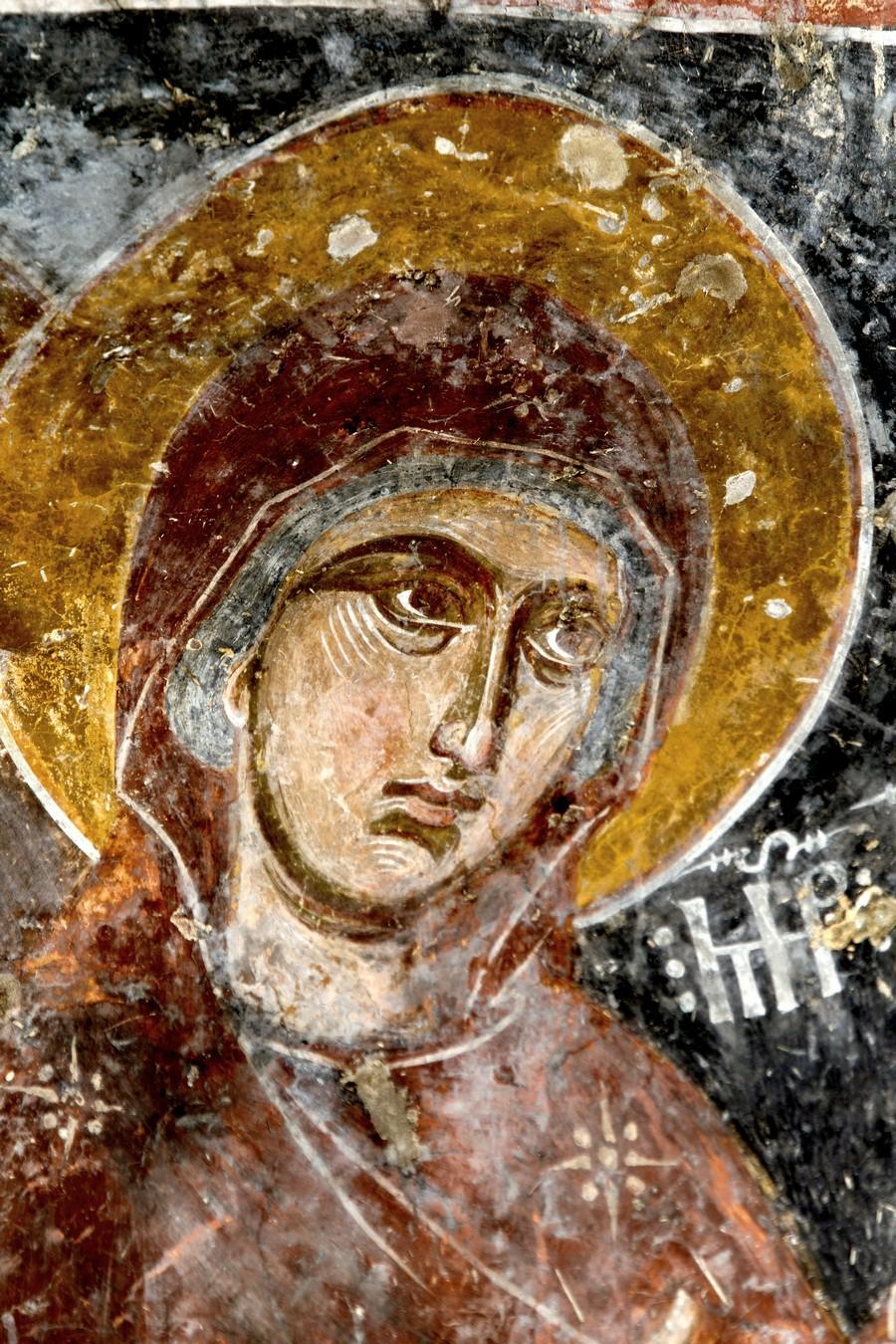 Пресвятая Богородица. ФрескаНузальской церкви (Северная Осетия). Конец XIII - начало XIV века.