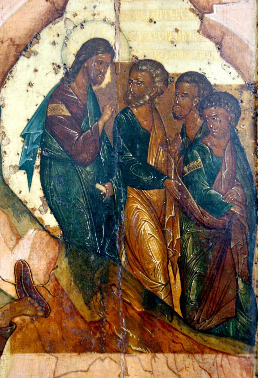 Преображение Господне. Икона. Ярославль, около 1516 года. Фрагмент. Спуск Спасителя и Апостолов с горы Фавор.