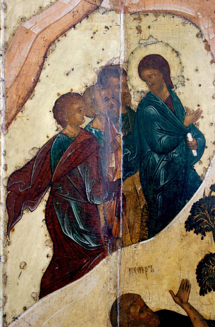 Преображение Господне. Икона. Ярославль, около 1516 года. Фрагмент. Восхождение Спасителя и Апостолов на гору Фавор.