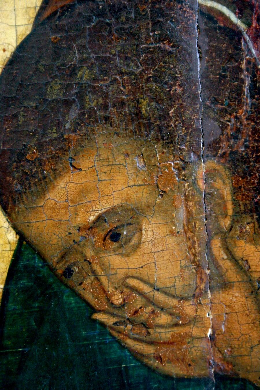 Преображение Господне. Икона. Ярославль, около 1516 года. Фрагмент. Святой Апостол Иоанн Богослов.