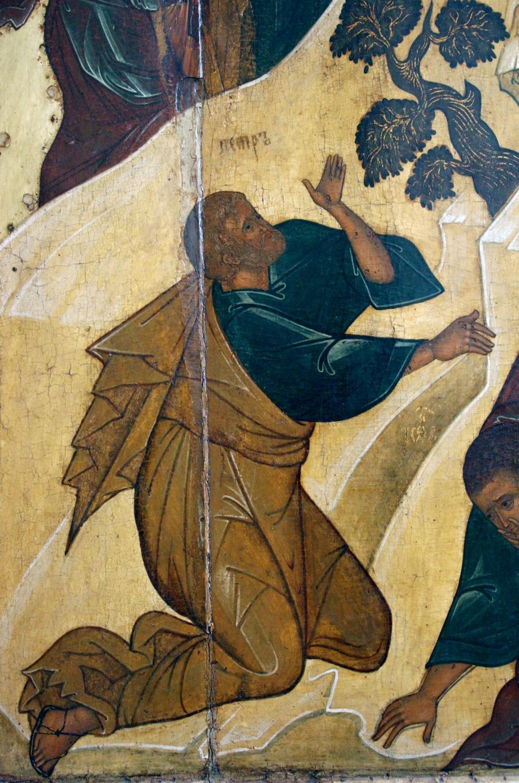 Преображение Господне. Икона. Ярославль, около 1516 года. Фрагмент. Святой Апостол Пётр.