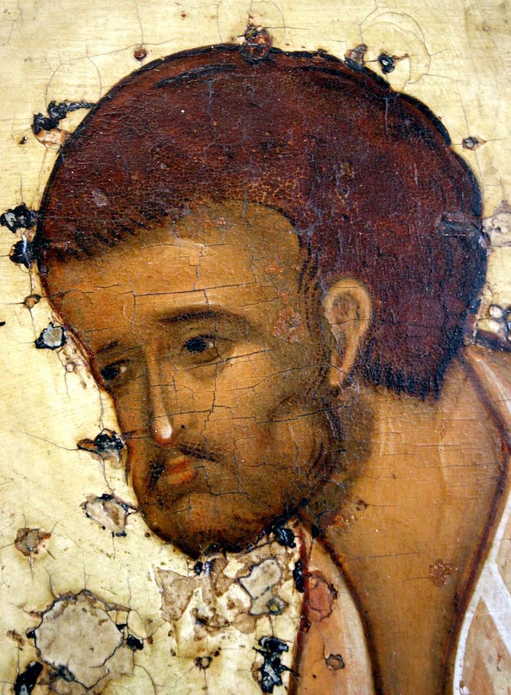 Преображение Господне. Икона. Ярославль, около 1516 года. Фрагмент. Святой Пророк Моисей Боговидец.
