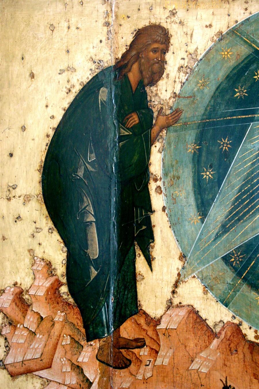 Преображение Господне. Икона. Ярославль, около 1516 года. Фрагмент. Святой Пророк Божий Илия.
