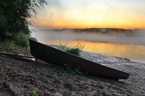 пляж , река Ока , утро