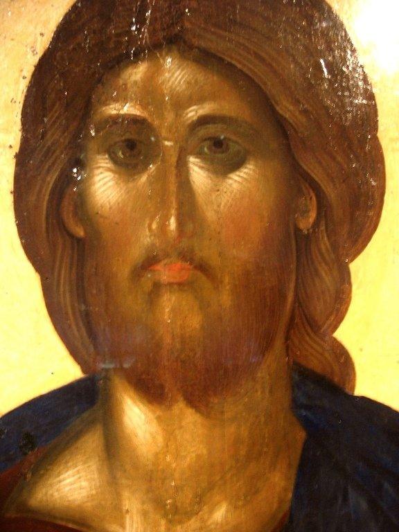 Христос Пантократор. Икона. Византия, около 1363 года. Государственный Эрмитаж. Фрагмент.