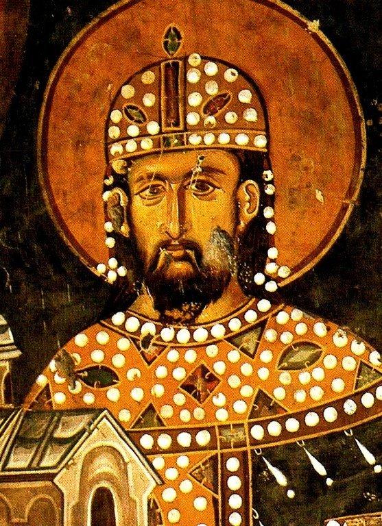 Святой Стефан Драгутин, Краль Сербский. Ктиторский портрет в церкви Святого Ахиллия в Арилье, Сербия. 1298 год.