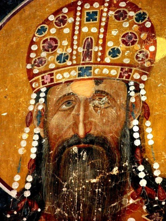 Святой Стефан Урош II Милутин, Краль Сербский. Ктиторский портрет в церкви Святых Иоакима и Анны (Королевской церкви) в монастыре Студеница, Сербия. 1314 год.