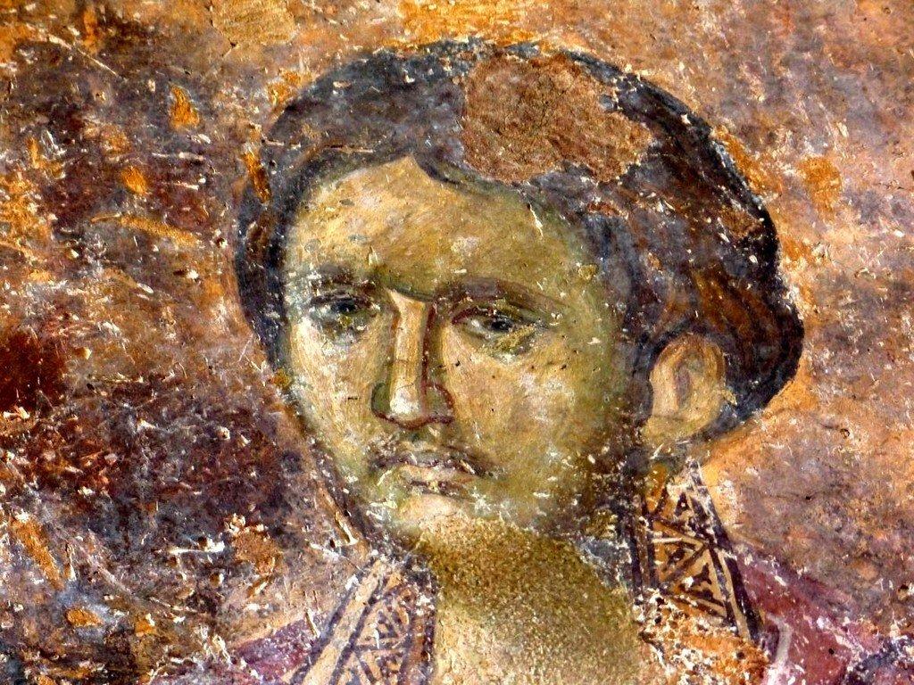 Святой Бессребреник Дамиан (?). Фреска церкви Святой Троицы в монастыре Сопочаны, Сербия. XIII век.