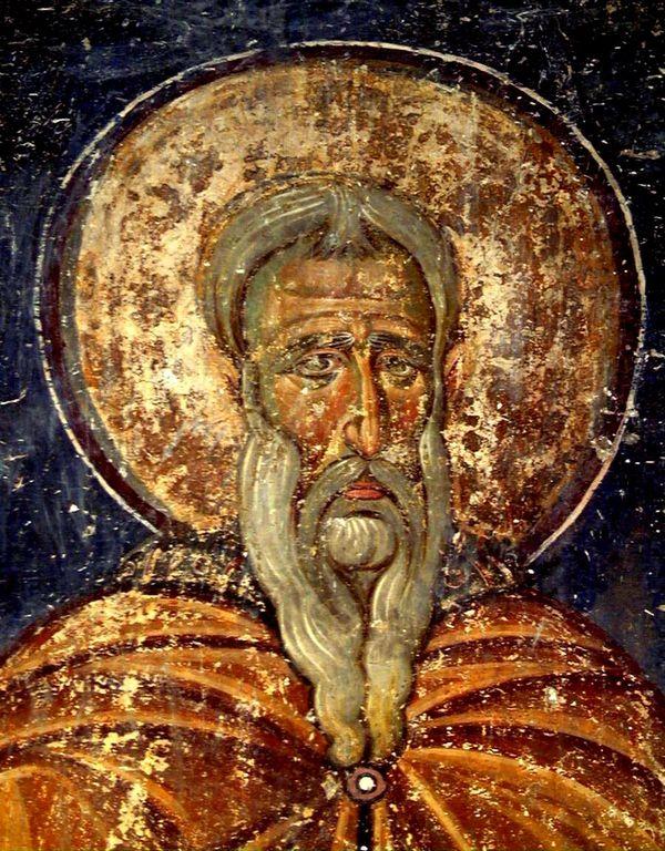 Святой Преподобный Иоанникий Великий. Фреска нартекса (притвора) церкви Вознесения Господня в монастыре Милешево, Сербия. XIII век.