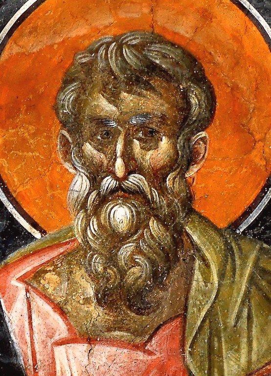 Святой Апостол и Евангелист Матфей. Фреска бокового купола церкви Успения Пресвятой Богородицы в монастыре Грачаница, Косово, Сербия. Около 1320 года.