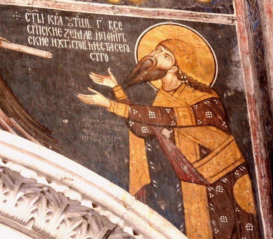 Святой Мученик Стефан Дечанский, Краль Сербский, получает свиток от Херувима. Фреска монастыря Высокие Дечаны, Косово, Сербия. Около 1350 года.