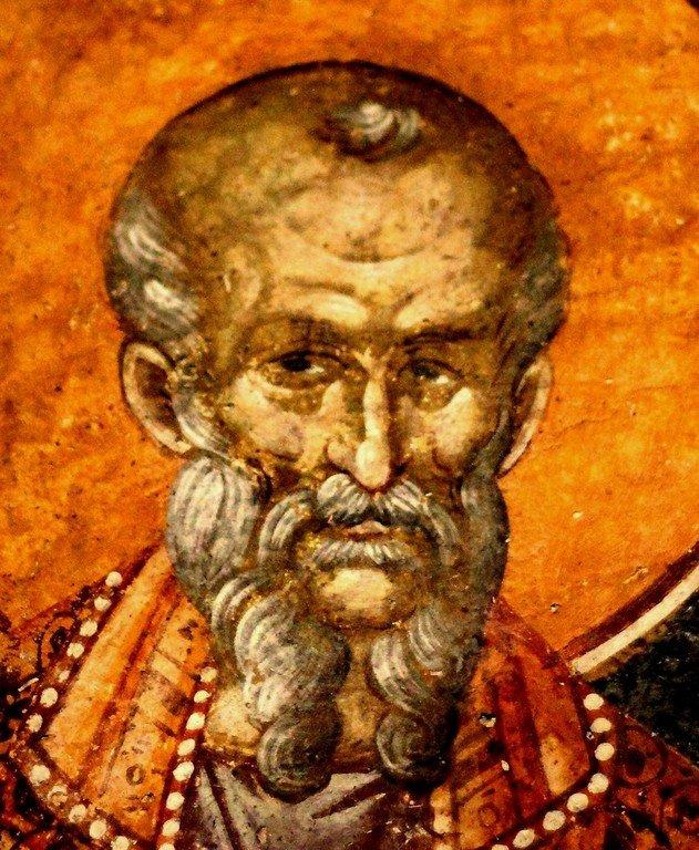 Святой Преподобный Феодор Студит, Исповедник. Фреска монастыря Грачаница, Косово, Сербия. Около 1320 года.