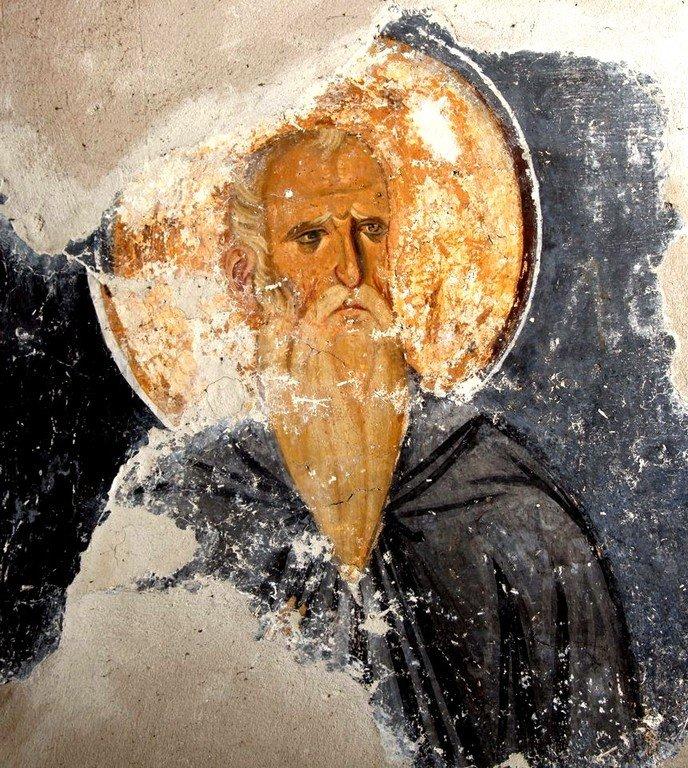 Святой Преподобный Нил Постник, Синайский. Фреска церкви Богородицы в монастыре Студеница, Сербия. 1208 - 1209 годы.