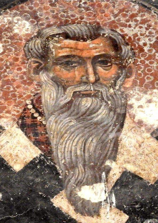 Святитель Иоанн Милостивый, Патриарх Александрийский. Фреска Петровой церкви в Расе, Сербия.