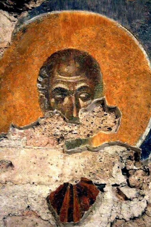 Лик Святого. Фреска монастыря Бачково, Болгария. XI век.