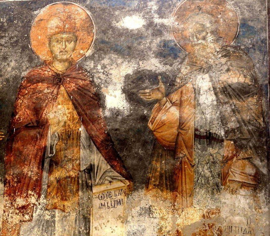 Святые Преподобные Иоасаф, Царевич Индийский, и Варлаам Отшельник. Фреска монастыря Высокие Дечаны, Косово, Сербия. Около 1350 года.