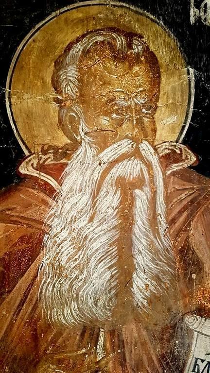 Святой Преподобный Варлаам Отшельник. Фреска церкви Святых Петра и Павла в Велико Тырново, Болгария. 1440-е годы.