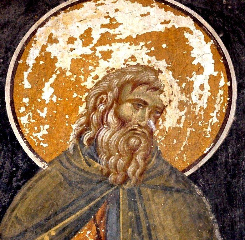 Святой Преподобный Варлаам Отшельник. Фреска монастыря Печская Патриархия, Косово, Сербия. XVI век.