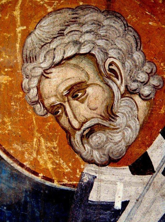 Священномученик Пётр, Архиепископ Александрийский. Фреска монастыря Высокие Дечаны, Косово, Сербия. Около 1350 года.
