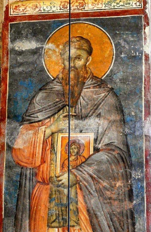 Святой Преподобномученик и Исповедник Стефан Новый. Фреска монастыря Высокие Дечаны, Косово, Сербия. Около 1350 года.