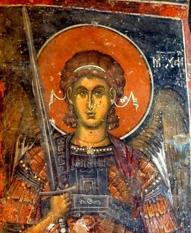 Архангел Михаил. Фреска церкви Святого Николая в монастыре Псача, Македония. 1365 - 1377 годы.