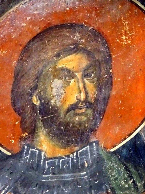 Святой Великомученик Артемий Антиохийский. Фреска церкви Святого Николая в монастыре Псача, Македония. 1365 - 1377 годы.