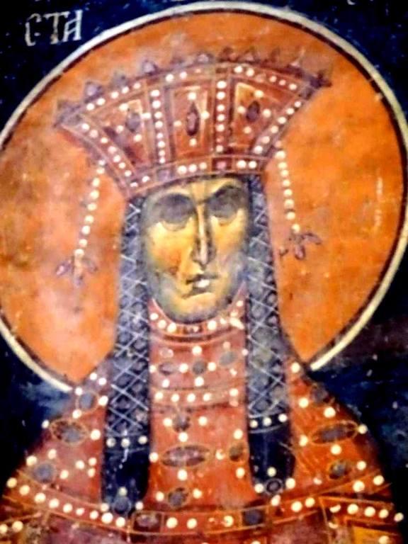 Святая Равноапостольная Царица Елена. Фреска церкви Святого Николая в монастыре Псача, Македония. 1365 - 1377 годы.