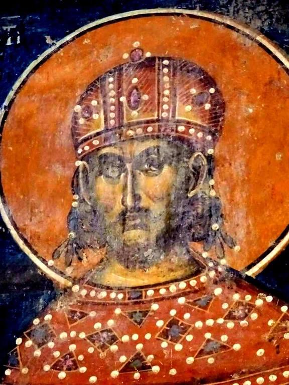 Святой Равноапостольный Царь Константин. Фреска церкви Святого Николая в монастыре Псача, Македония. 1365 - 1377 годы.