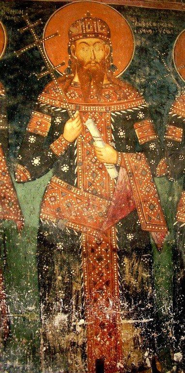 Святой Стефан Урош V, Царь Сербский. Фреска церкви Святого Николая в монастыре Псача, Македония. 1365 - 1377 годы.