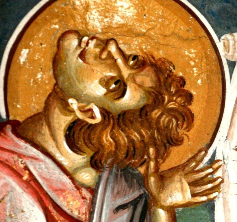 Святой Пророк Аввакум. Фреска церкви Святых Апостолов в монастыре Печская Патриархия, Косово, Сербия. Около 1350 года.