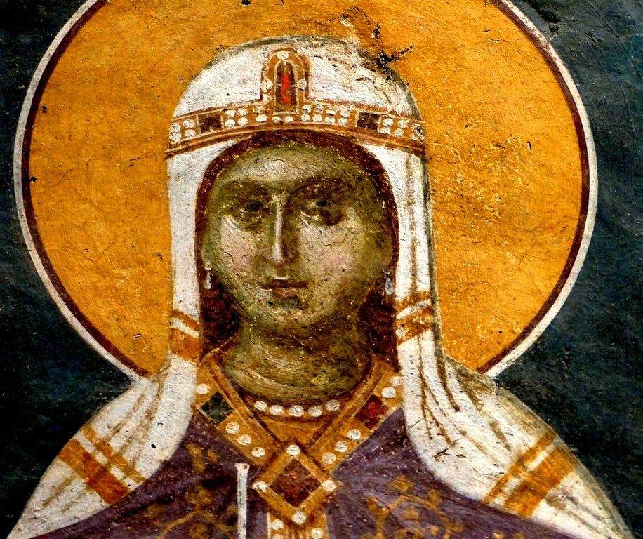 Святая Великомученица Варвара. Фреска монастыря Грачаница, Косово, Сербия. Около 1320 года.
