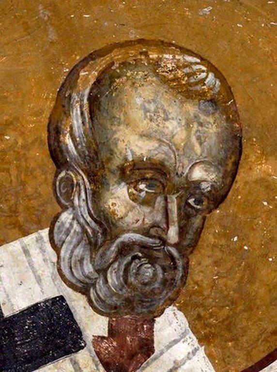 Святитель Николай, Архиепископ Мир Ликийских, Чудотворец. Фреска Белой церкви в селе Каран, Сербия. 1340 - 1342 годы.