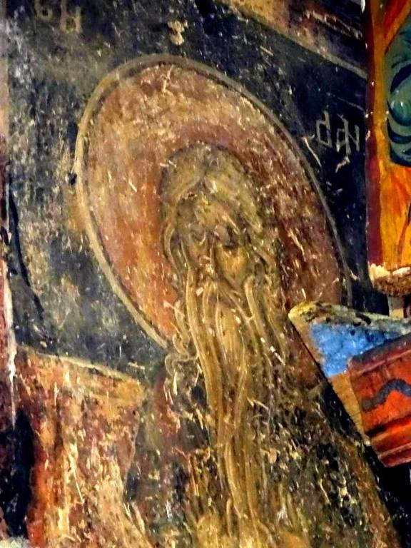 Святой Преподобный Даниил Столпник. Фреска церкви Святого Николая в монастыре Псача, Македония. 1365 - 1377 годы.