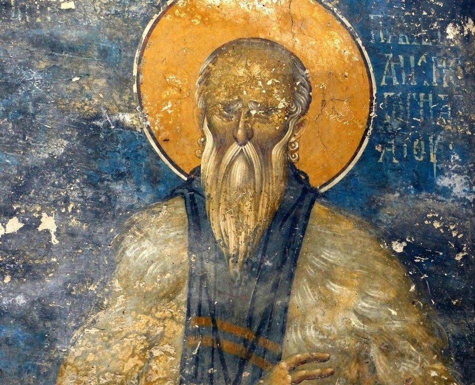 Святой Преподобный Павел Латрийский. Фреска монастыря Высокие Дечаны, Косово, Сербия. Около 1350 года.