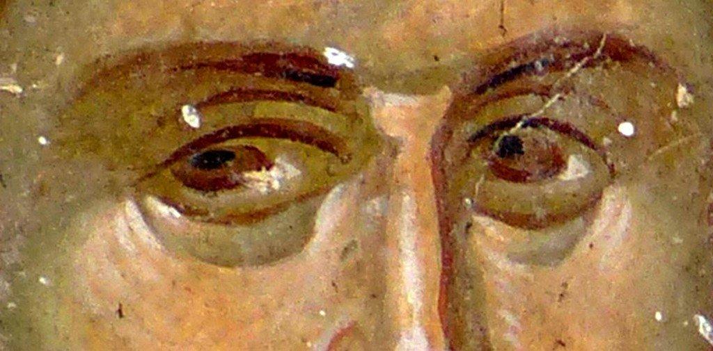 Священномученик Елевферий, Епископ Иллирийский. Фреска церкви Святого Георгия в Старо Нагоричино, Македония. 1316 - 1318 годы. Иконописцы Михаил Астрапа и Евтихий.