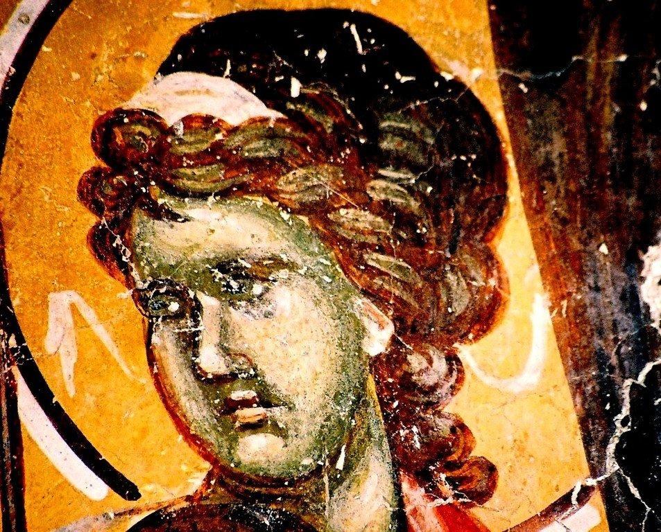 Ангел Господень. Фреска церкви Святых Иоакима и Анны (Королевской церкви) в монастыре Студеница, Сербия. 1314 год.