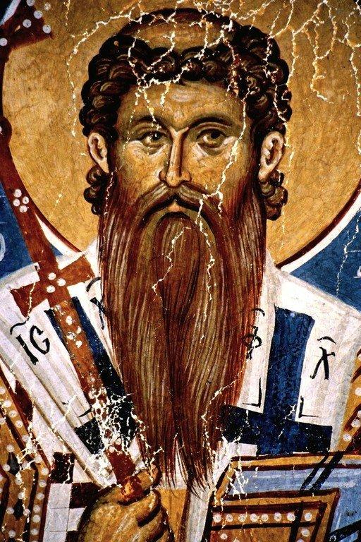 Святитель Даниил II, Архиепископ Сербский. Фреска церкви Богоматери Одигитрии в монастыре Печская Патриархия, Косово, Сербия. XIV век.