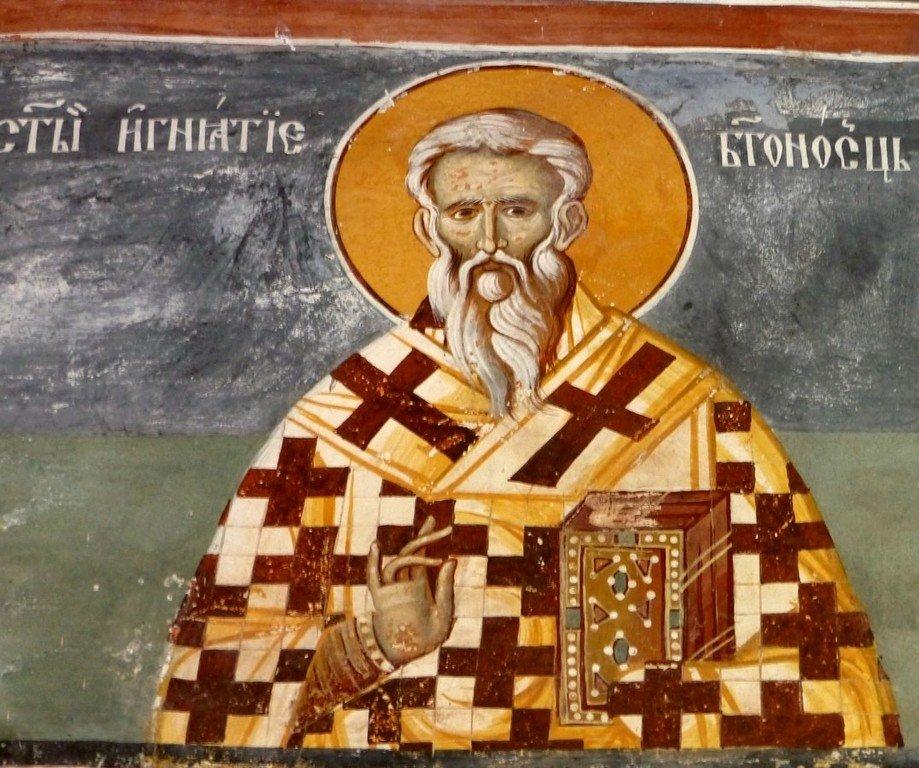 Священномученик Игнатий Богоносец, Епископ Антиохийский. Фреска монастыря Морача, Черногория. XVI век.
