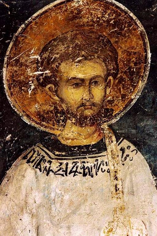 Святой Диакон. Фреска церкви Святого Николая в монастыре Куртя де Арджеш, Румыния. XIV век.