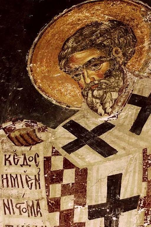 Святитель. Фреска церкви Святого Николая в монастыре Куртя де Арджеш, Румыния. XIV век.