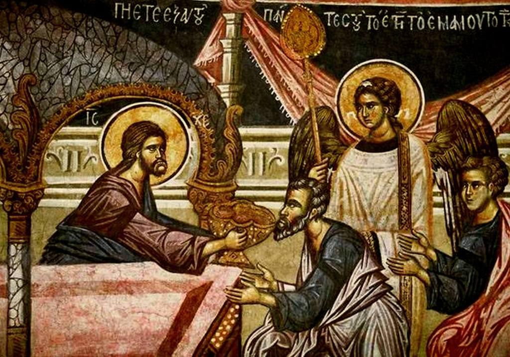 Евхаристия (Причащение Апостолов). Фреска церкви Святого Николая в монастыре Куртя де Арджеш, Румыния. XIV век. Фрагмент.